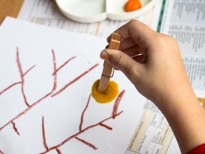 Mandarin Orange Tree art Pinch pompom with peg