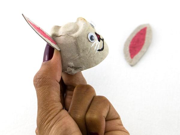 Easter bunny step 4 glue ears