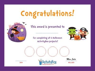 Halloween ActivityBox Certificate