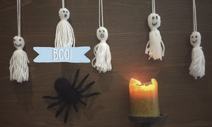DIY-halloween-decorations-tassle-ghosts