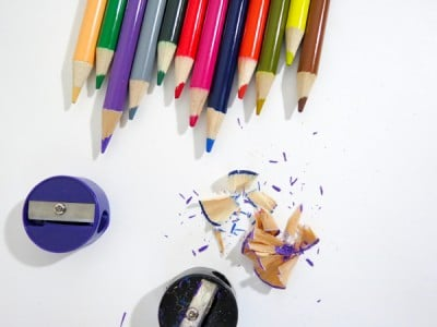 art and craft supplies colour pencils and sharpeners